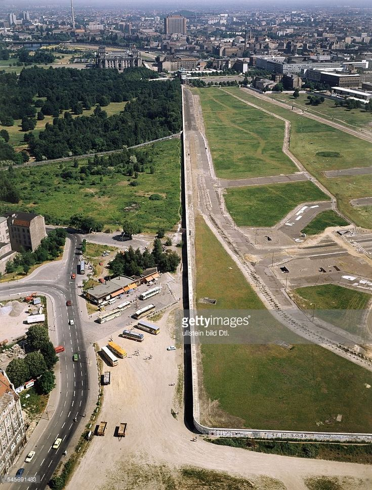 Germany / GDR, Berlin. The wall at Potsdamer Platz and Leipziger Platz. Aerial view 1983