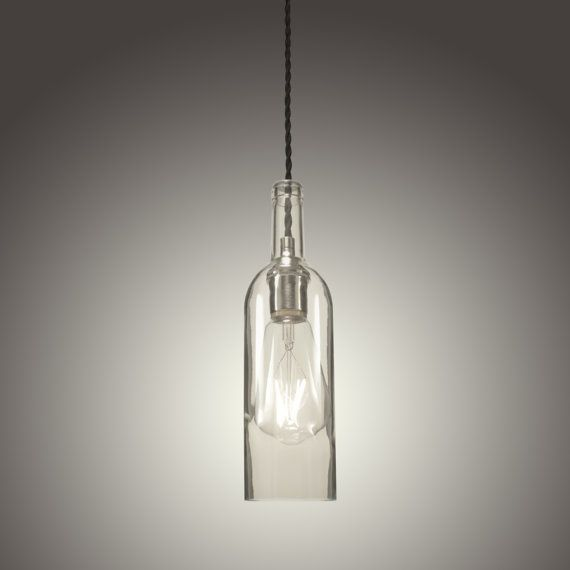 Clear Bordeaux Style Wine Bottle Pendant Light with LED Edison Bulb (Hard Wired)