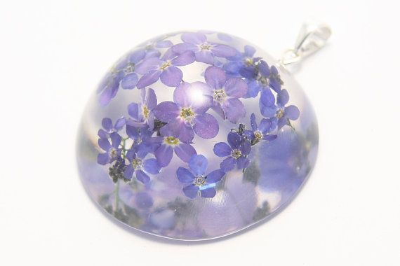 Flower pendant: hemisphere with forget-me-nots on by pulchrapl