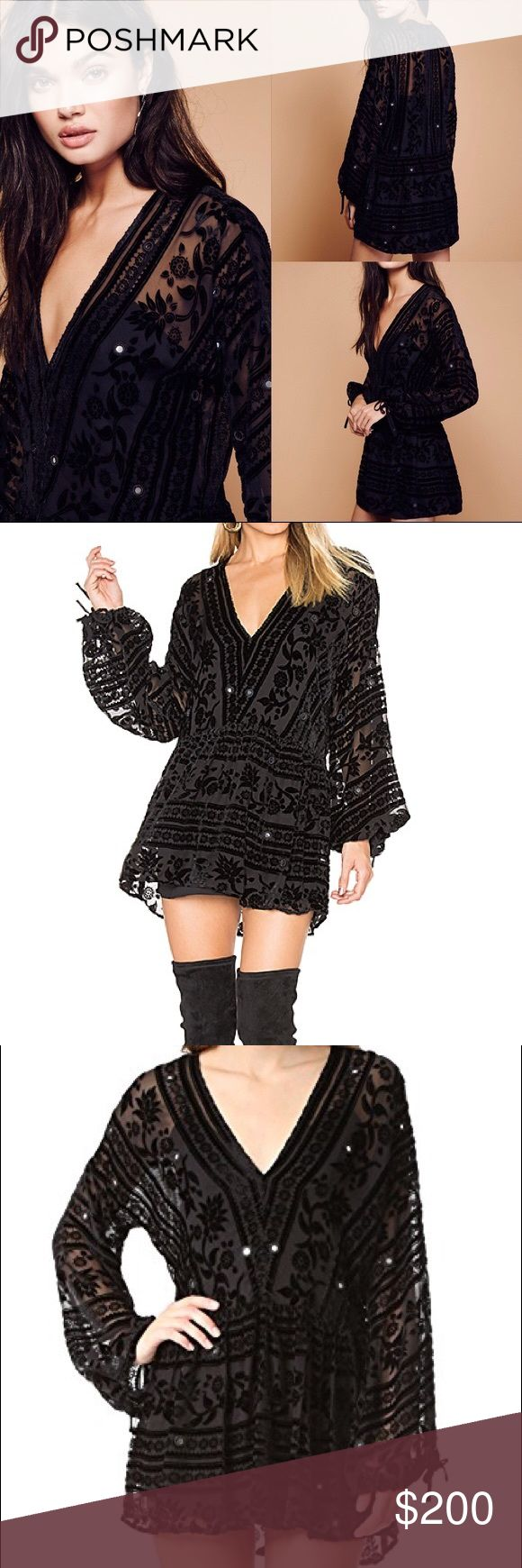 🆕 For Love&Lemons J'adore Mini Dress - Size M ✨ Channel Penny Lane in the perfect bohemian LBD ✨✨✨ Sold out everywhere. Never been worn 🆕 For Love & Lemons J'Adore Mini Dress in Black features mirror details and delicate floral velvet pattern on sheer silk rayon. Includes matching For Love & Lemons plunging-V slip dress - perfect enough to wear alone. Pair with thigh-high boots or layer over black jeans and leggings! For Love And Lemons Dresses Mini