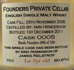 Buy English Founders Private Cellar Cask 0005 Single Malt Whisky online - World Whiskys - English Whisky - The English Whisky Co. Founders Private Cellar Cask 0005 60.8% 70cl - Specialist WhiskyShop -