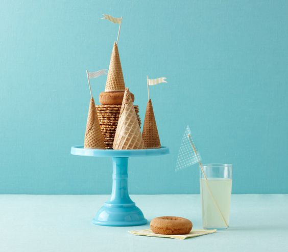 For an end-of-summer party: Set out an ice cream bar, with upside-down cones to look like sand castles.