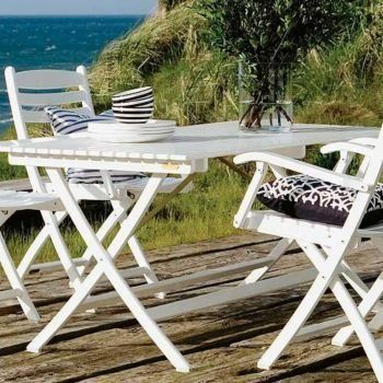Selandia Table 58 x 30 by Sci Interiors. $1070.10. Outdoor or indoor use Folds for easy storage Teak will weather to silver grey Choose : Teak or White painted Tropical Hardwood Selandia is elegant but practical with a focus on comfort, flexibility and function.