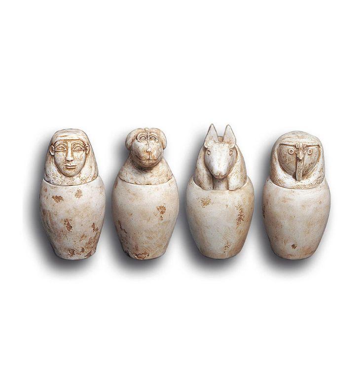 Vasos Cánopes | Arte funerario egipcio | Vasos egipcios | Artesanía