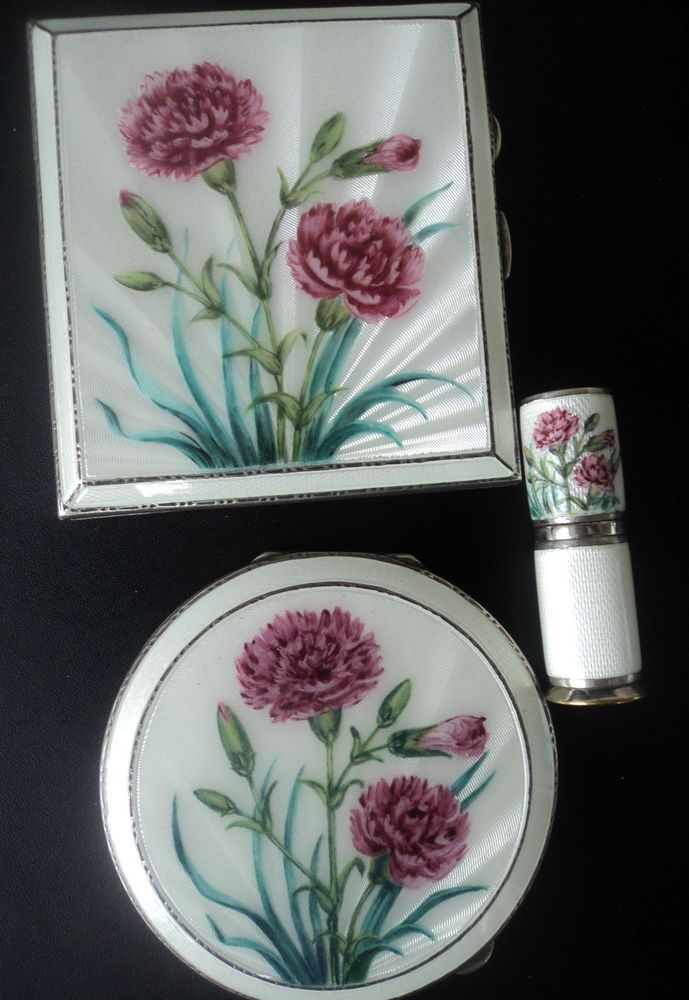 Silver Enamel Carnation Compact Cigarette Case Lipstick - Henry Clifford Davies  #CompactCigaretteCaseLipstickHolder #HenryCliffordDavies