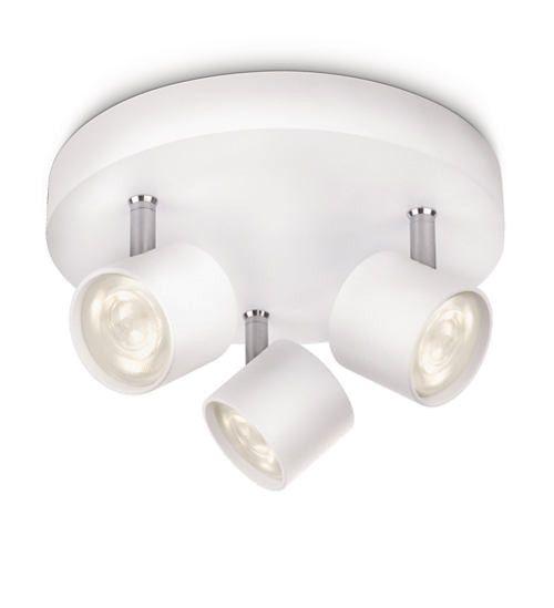 Philips 56243/31/16   Star White LED 3 Lamp Round Plate Spot Light   562433116 – Birco Philips