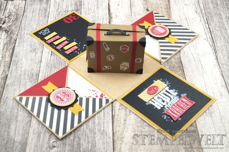 FREE PDF templates for travel suitcase explosion box card