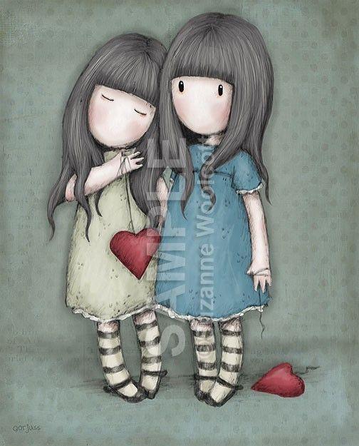 #Ilustración bonita Gorjuss Cards niñas corazón para #llienzo #póster o…