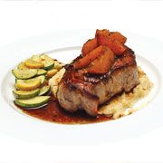 Brandied cling peach pork chops #Recipe.    Golden peaches provide a sweet counterpoint to pork chops in this recipe from Sutter County chef Angelo Micheli.
