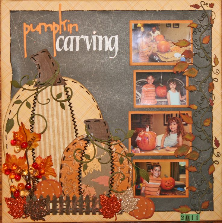 No detail is spared in this beautiful Fall layout!  The large pumpkins fill the space and don't overpower the four fun photos of carving Halloween pumpkins.  Find lots of fun Fall color cardstock at www.cardstockshop.com for your detailed layouts!