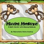 Missing Monkeys!  This is a zoo/jungle themed set of math centers, focusing on missing addends.  These centers includes jungle math cards with miss...