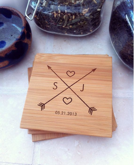 Custom Engraved Bamboo Coaster Set by Wood Be Mine.   Wood Be Mine's unique and eco-friendly cutting boards, coasters, and serving boards are perfect for a wedding, housewarming, anniversary, or any special occasion needing a personal and creative touch ♡