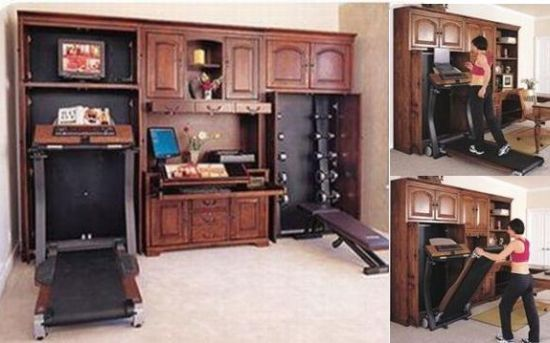 home office and workout area with treadmill and weight bench i like
