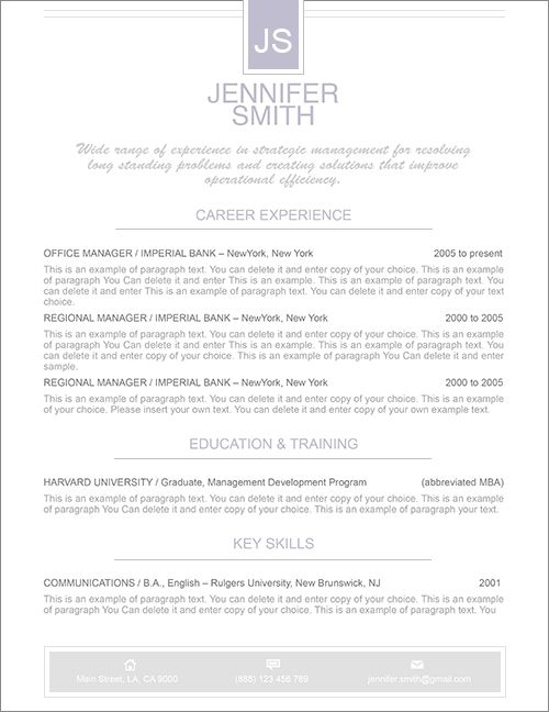 Elegant Resume Template - Premium line of Resume \ Cover Letter - resume header template
