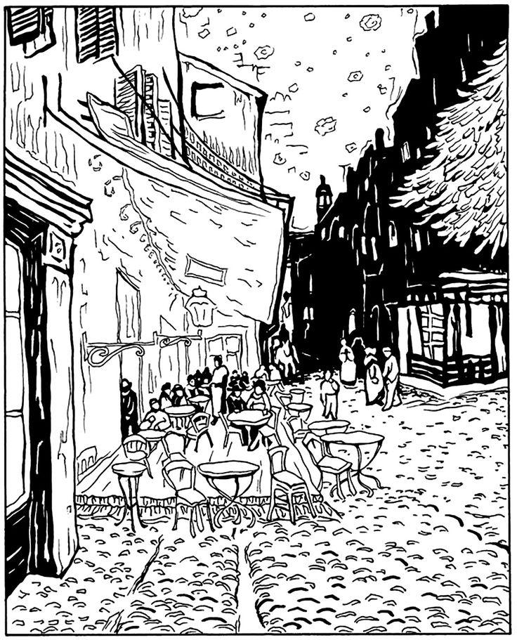free coloring page coloring adult van gogh le cafe de - Van Gogh Coloring Book