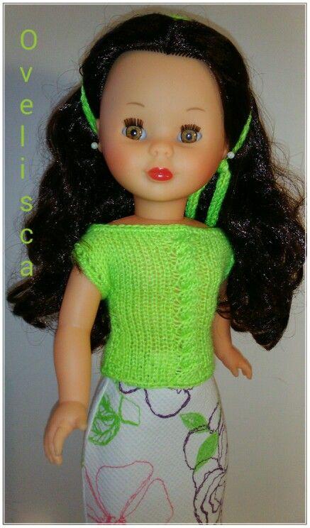 OVELISCA - Jersey con ochos en verde flúor y falda recta estampada para muñeca Nancy