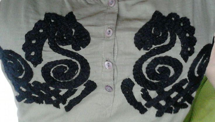 Sleipnir dress detail. Chain stich. Hand-made.