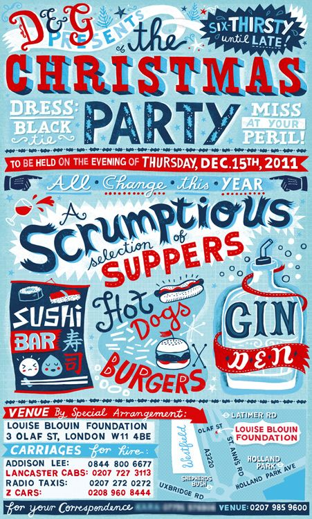 : Events Poster, Linzi Hunter, Party Invitations, Hands Letters, Gordon Invitations, Handlett Poster, Events Invitations, Poster Quadro-Negro, Christmas Party
