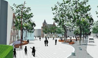 Impressie van een plein. Een mooi voorbeeld van ruim plein met groenvoorzieningen. ( carol )