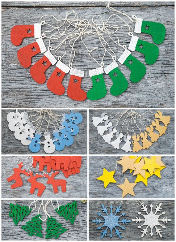 Hanging Christmas stockings Handpainted Xmas tree ornament Wooden tag holiday ornament Christmas two-sided decor Holiday decor Xmas gift