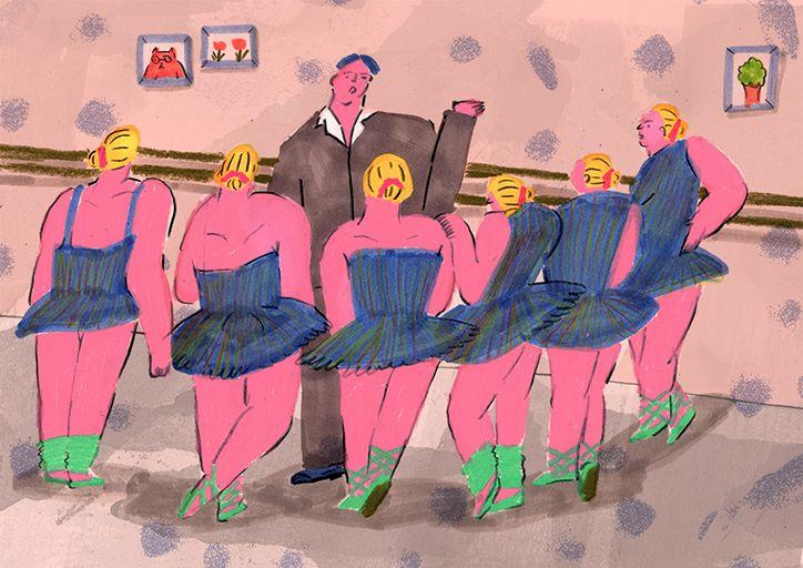 Seoul-based illustrator Kang YeonJi's beautifully thick-limbed ballerinas