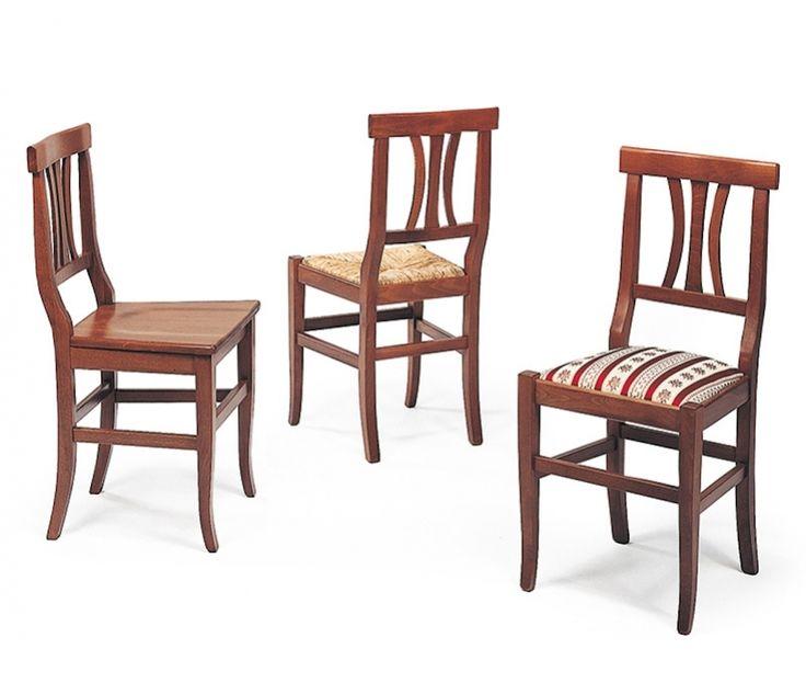 Sedia classica dal design ricercato. Seduta anche imbottita, realizzata in legno di faggio tinto, disponibile in molte varianti. Ideale per arredare taverne, cucine antiche o locali rustici