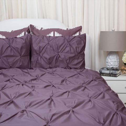 Plum Purple Duvet Cover Set - The Valencia Purple Pintuck - Crane ...