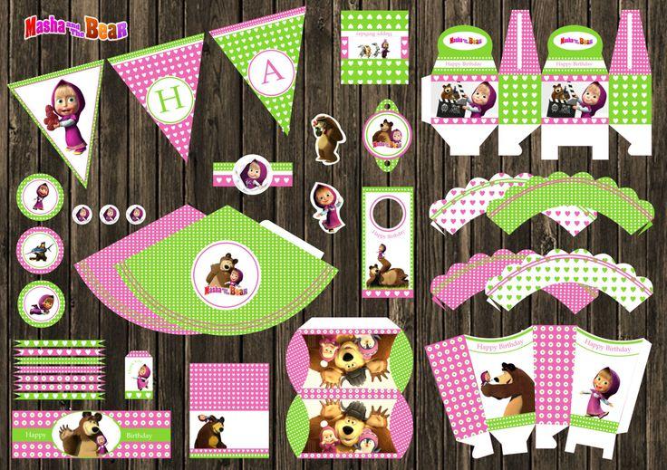 Masha y el oso e orso cumpleaños Party Decor Digital