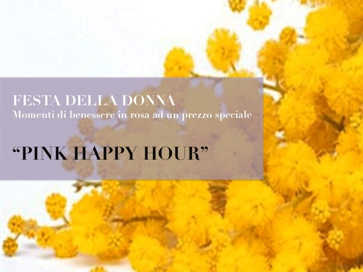 Pink Happy hour:   Percorso Benessere dalle ore 17.30   Aperitivo a bordo piscina  Cena Gastronomica (9 antipasti, 2 primi, 1 secondo, buffet di formaggi a Km 0, 2 contorni e 2 dolci)    45€ a persona, bevande escluse