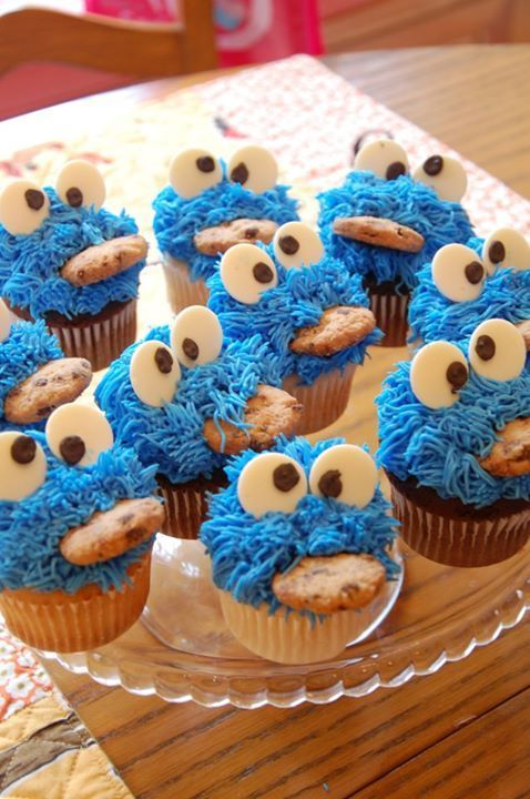 Cookie Monster Cupcakes!! C is for Cookie...and Cupcake that's good enough for me! Celebrate National Cupcake Day (August 20th) with a fun (or just plain delicious) cupcake