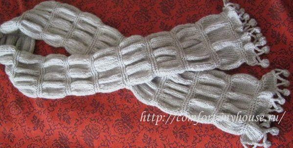 узкий длинный шарф спицами