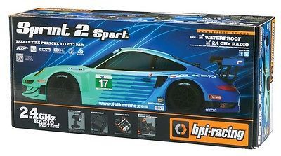 "TECH NOTES This is the 1/10 scale, electric powered, 2.4GHz radio controlled, RTR HPI On-Road Sprint 2 Drift Car with the Falken Tire Porsche 911 GT3 RSR Body. FEATURES: Chassis: 3/16"" (4mm) thick pla"