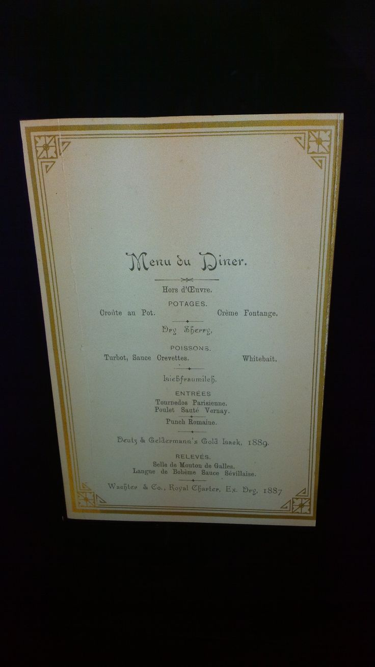 Deutz Menu from Queen Victoria Dinner