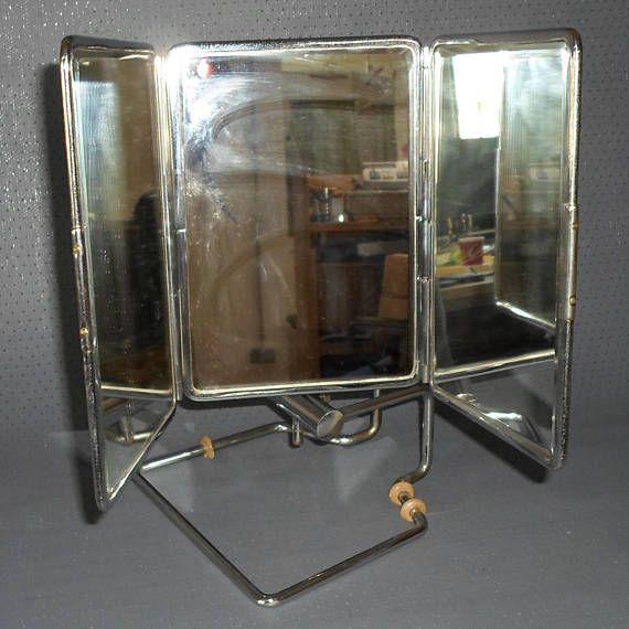 Vintage Optiker Brillen Anprobespiegel Klappbar Chrom-Rahmen