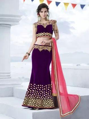 Purple Velvet Lehenga Choli with Embroidery Work