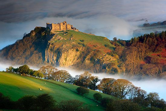 The 12th century Carreg Cennen Castle, Carmarthenshire, Wales