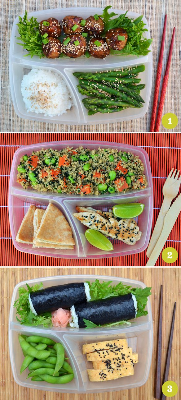 Bento box ideas... I know where these trays come from. We just bought some from walmart lol! They are awesome! ~M