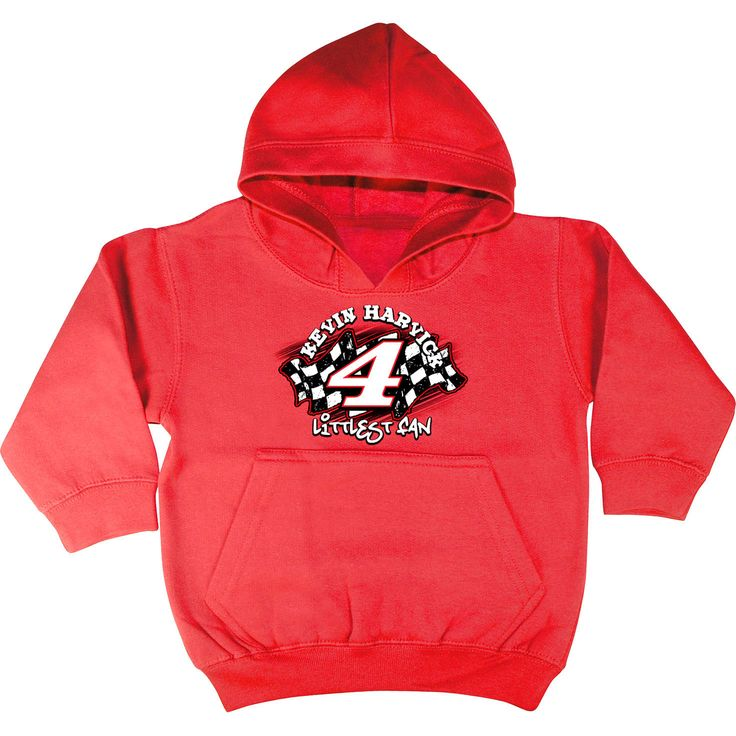Checkered Flag Kevin Harvick Toddler Littlest Fan Pullover Hoodie - Red - $14.24