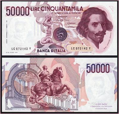 Collezione Personale di Banconote Italiane: 0.3.1. - 50000 LIRE BERNINI I TIPO