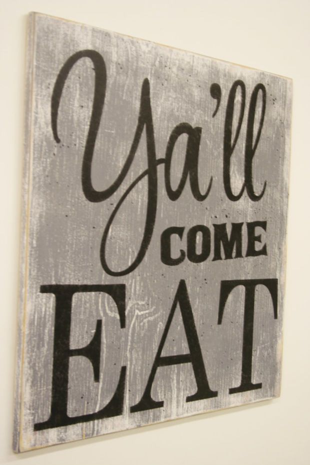 Y All Come Eat Wood Sign Kitchen Sign Dining Room Sign Vintage Wall Decor Farmhouse