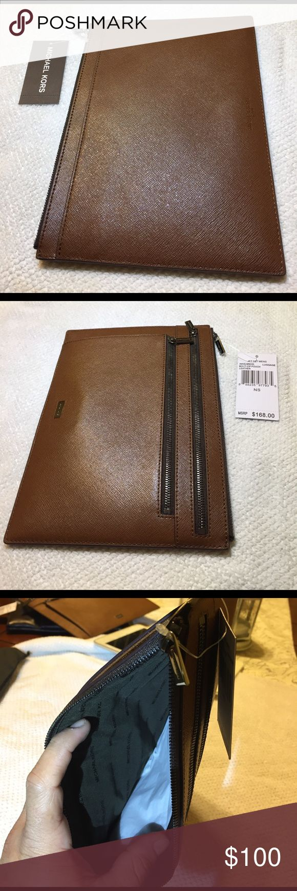 Michael Kors men's Luggage Michael Kors brown jet set men's  multi zip pouch leather MICHAEL Michael Kors Bags Wallets