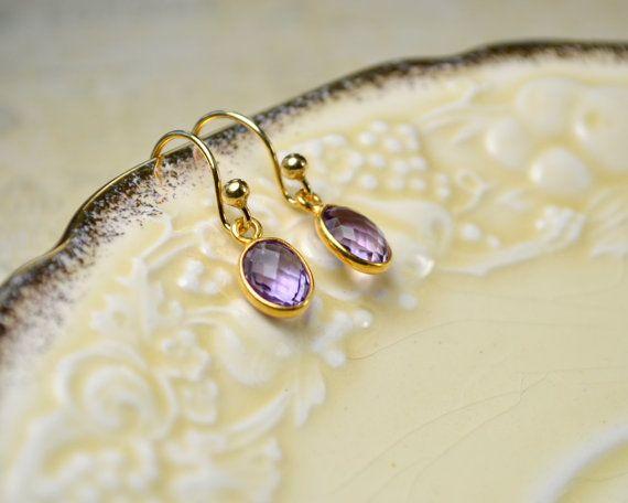 Amethyst gouden oorringen, Purple edelsteen oorbellen, februari Birthstone oorbellen, Drop Earrings, Amethyst Jewelry, Birthstone cadeaus voor mama