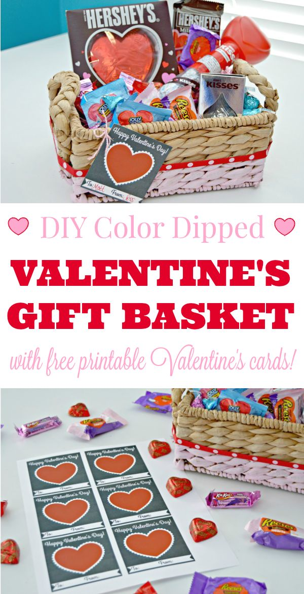 DIY Color Dipped Valentine's Gift Baskets with Free Printable Valentine's Day Cards! #HSYMessageOfLove #sponsored