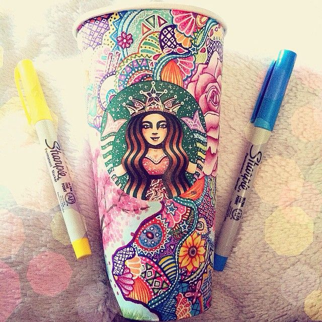 I had quite a number of people ask about the first Starbucks cup I ever drew on... This is that cup. it's my favorite out of the bunch and it's also the one I spent the most time on. ⭐️Reminder! #colorcarrahssketch is going on until May 16th~