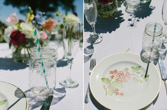 vintage floral plates, mason jar glasses and striped straws