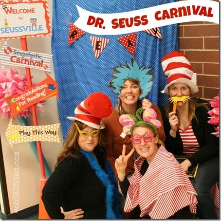 Dr. Seuss Carnival Games and Activities- hula hoops, green eggs matching games, Daisy Head Maisey hats, cotton candy hair