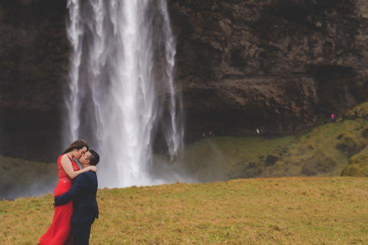 Iceland Engagement session of Amanda and Arjun  #seljalandsfoss #seljalandsfossfalls #thatreddress #reddressiceland #icelandengagementshoot #icelandphotoshoot #icelandweddingpictures #internationalweddingphotographer #torontoweddingphotographer #destinationweddingphotographer #eshootideas #wowair #bluelagoon #wheniniceland #reykjavik