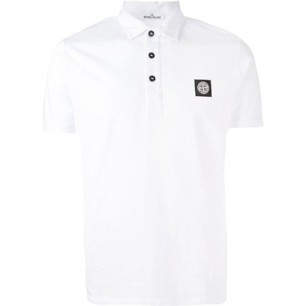 Stone Island logo patch polo shirt (€125) ❤ liked on Polyvore featuring men's fashion, men's clothing, men's shirts and men's polos