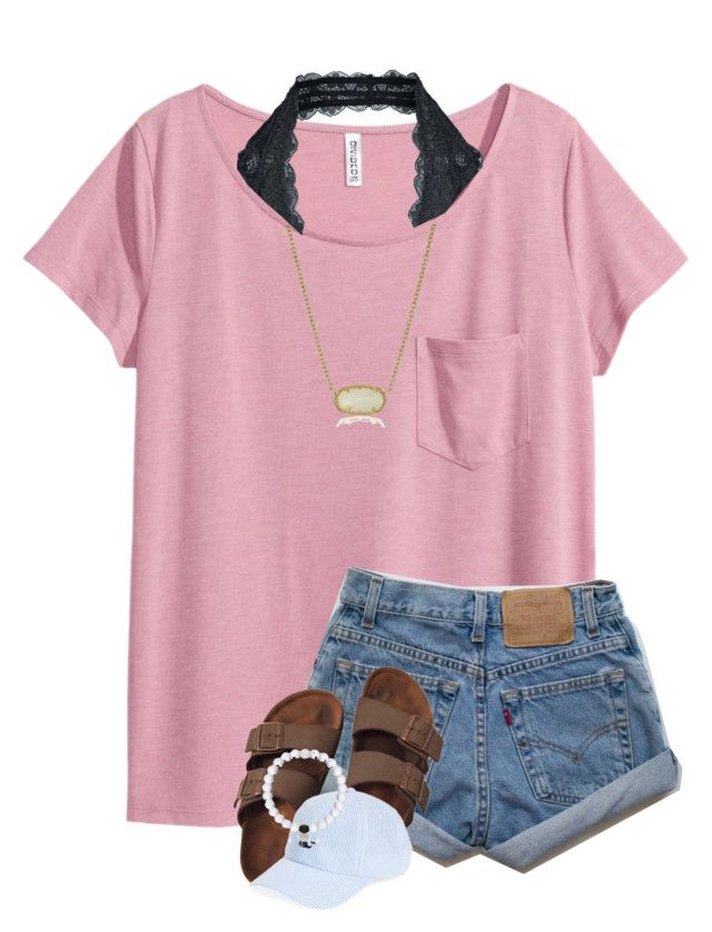 """""""Beach tomorrow AGAIN"""" by breezerw ❤ liked on Polyvore featuring H&M, Birkenstock, Vineyard Vines, Kendra Scott and Free People"""