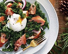 Warm Salad of Kale, Salmon & Poached Egg with Crispy Capers